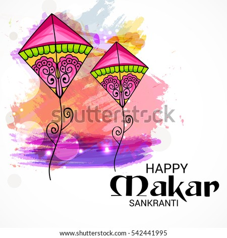 Vector illustration of a Banner For Makar Sankranti with Colorful Kites.