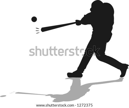 vector illustration of a baseball player hitting a ball with a bat - stock vector