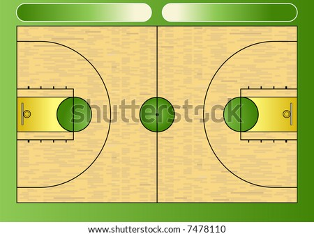 Vector illustration of a basketball court - stock vector
