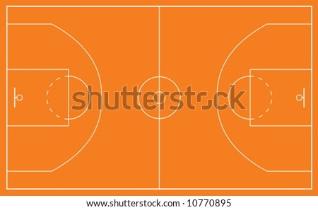 Vector illustration of a basketball court and all court markings - stock vector