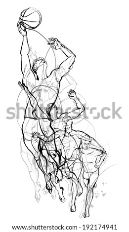 Vector illustration of a basketball player - stock vector