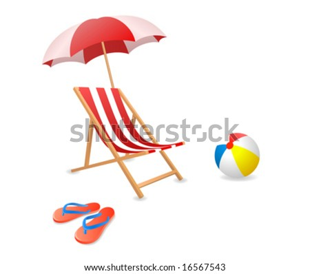 Vector illustration of a beach chair with umbrella. - stock vector