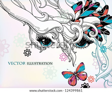 vector illustration of a beautiful abstract face - stock vector
