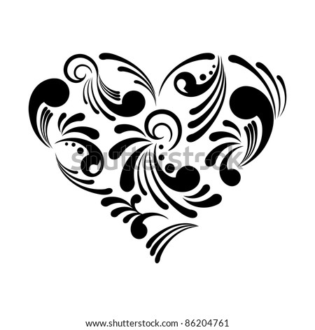 Vector illustration of a beautiful abstract heart isolated on white background - stock vector
