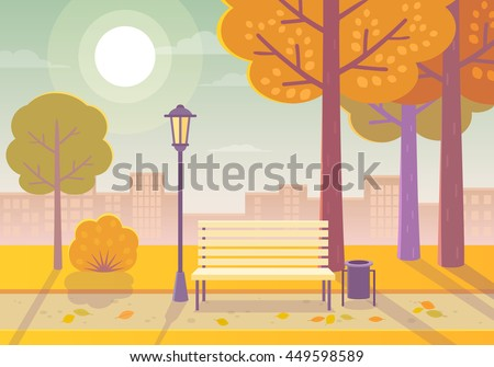 Vector illustration of a beautiful autumn city park  with town building background. Evening in the park. - stock vector