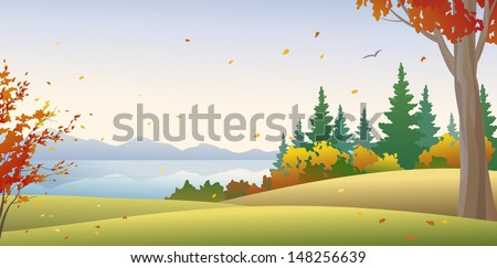 Vector illustration of a beautiful autumn forest at the river, horizontal view - stock vector