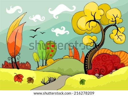 vector illustration of a beautiful autumn landscape - stock vector