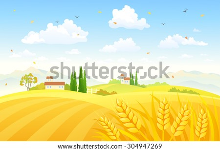 Vector illustration of a beautiful autumn scene with wheat fields - stock vector