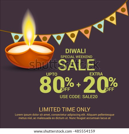 Vector illustration of a Beautiful Banner for Diwali offer.