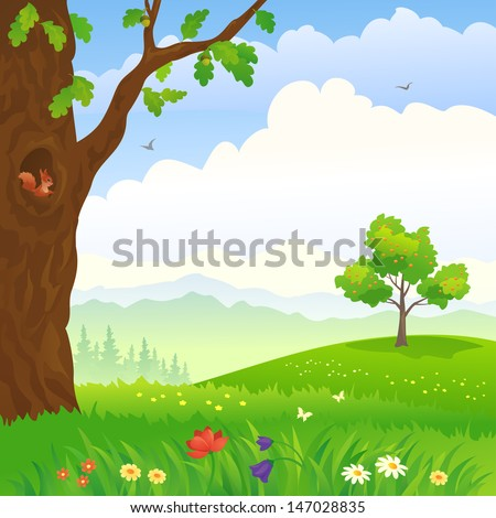Vector illustration of a beautiful cartoon green landscape with an oak and apple tree - stock vector