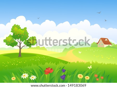 Vector illustration of a beautiful country landscape - stock vector