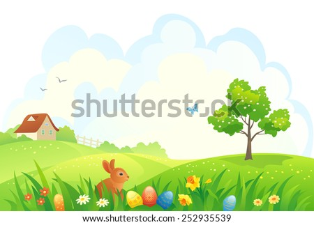 Vector illustration of a beautiful Easter scene - stock vector