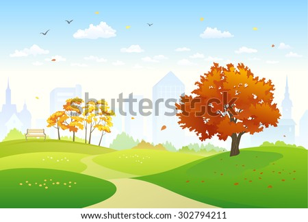 Vector illustration of a beautiful fall city park with bright foliage trees - stock vector
