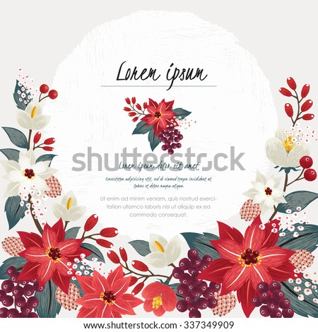 Vector illustration of a beautiful floral border in winter for Happy New Year and Merry Christmas cards - stock vector