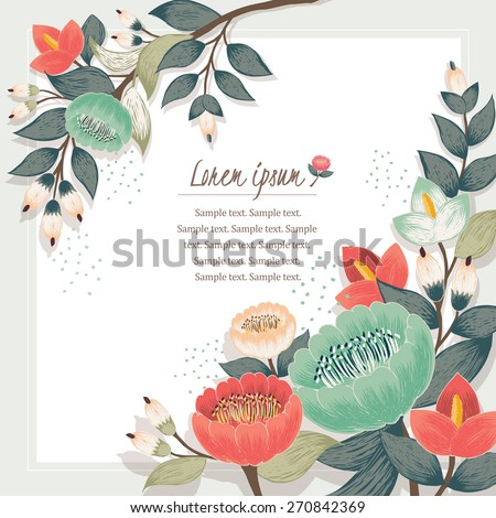 Vector illustration of a beautiful floral border with spring flowers. Beige background - stock vector