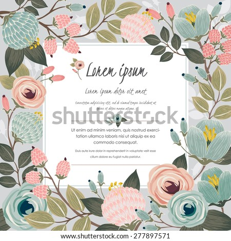 Vector illustration of a beautiful floral border with spring flowers for invitations and birthday cards - stock vector