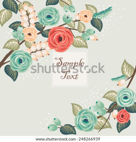 Vector illustration of a beautiful floral frame with branches. Mint background - stock vector