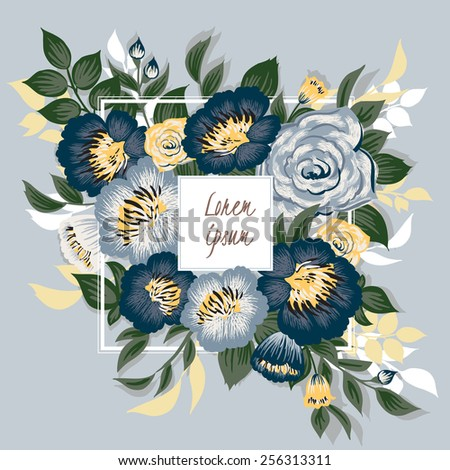 Vector illustration of a beautiful floral frame with white frame. Blue background - stock vector