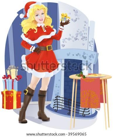 vector illustration of a beautiful girl in Santa costume - stock vector