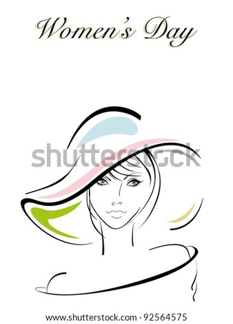 Vector illustration of a beautiful girl wearing hat for International Women's Day. - stock vector