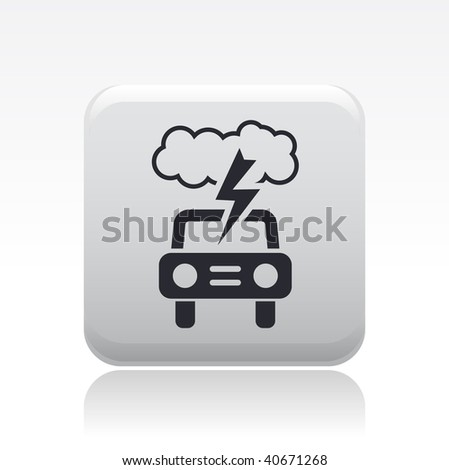 Vector illustration of a beautiful gray icon isolated in a modern style with a reflection effect depicting a car