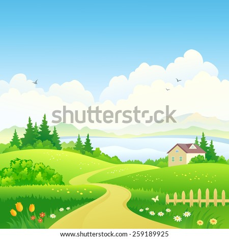 Vector illustration of a beautiful green hilly scenery with a pathway and a small house in the woods - stock vector