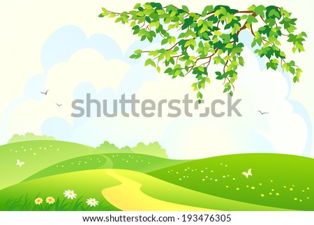 Vector illustration of a beautiful green rural landscape - stock vector