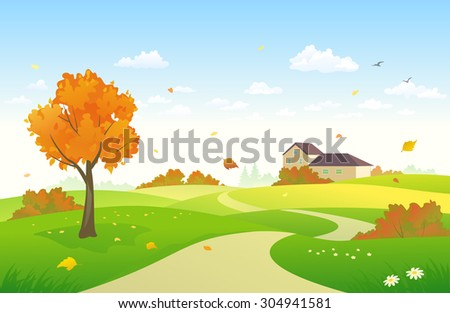 Vector illustration of a beautiful landscape with a house and bright autumn foliage - stock vector