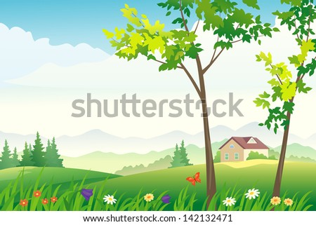 Vector illustration of a beautiful nature view - stock vector