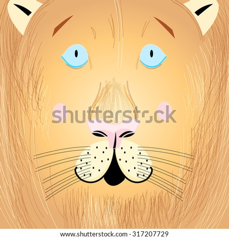 Vector illustration of a beautiful portrait of a lion - stock vector