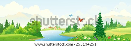 Vector illustration of a beautiful river scenery - stock vector