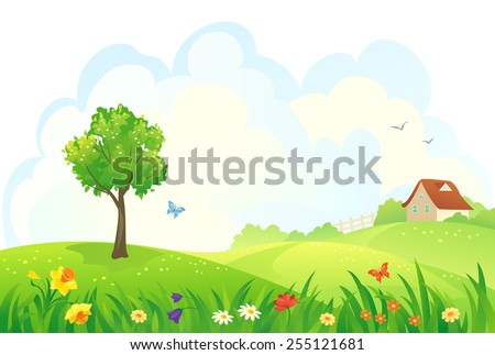 Vector illustration of a beautiful rural spring day - stock vector