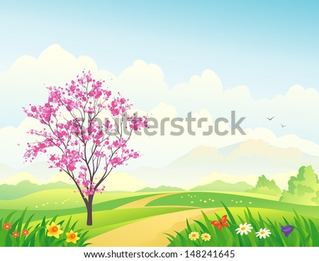 Vector illustration of a beautiful spring landscape with a blooming tree - stock vector