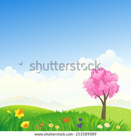 Vector illustration of a beautiful spring landscape with blooming hills and pink tree - stock vector