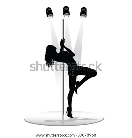 Vector illustration of a beautiful striptease dancing girl