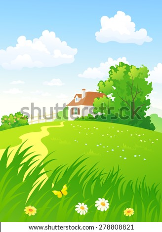 Vector illustration of a beautiful summer countryside view with a home - stock vector