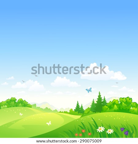 Vector illustration of a beautiful summer rolling landscape - stock vector