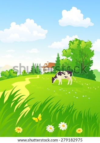 Vector illustration of a beautiful summer rural scene with a cow - stock vector
