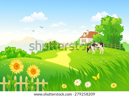 Vector illustration of a beautiful summer rural scene with a grazing cow - stock vector