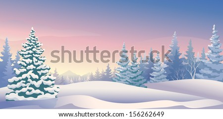 Vector illustration of a beautiful winter morning - stock vector