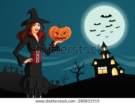 Vector illustration of a beautiful woman in Halloween costume holding a face carved scary pumpkin, on Horror background with a graveyard, a mystic castle, spooky trees, bats and moon. - stock vector