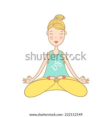 Vector illustration of a beautiful woman with symbol om on t-shirt sitting in yoga lotus position.  - stock vector
