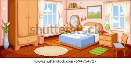 Superior Vector Illustration Of A Bedroom Interior With A Bed, Nightstand, Wardrobe  And Windows.