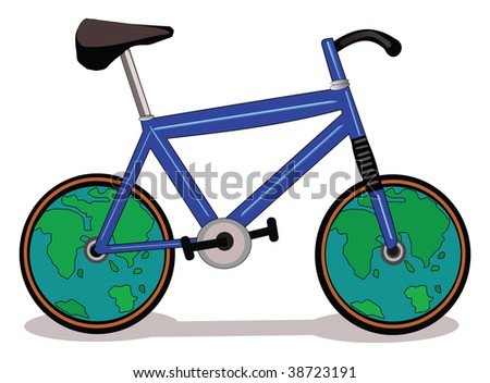 Vector illustration of a  bicycle with wheel like earth symbol.