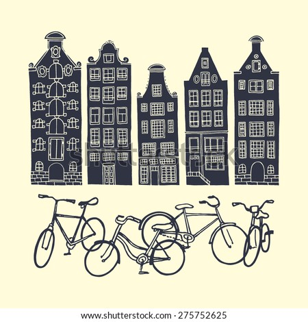 Vector illustration of a bike-friendly european city. Monochrome print of standing in front of the old houses bicycles.  - stock vector