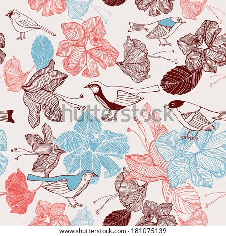 Vector illustration of a bird and blooming flowers. Seamless pattern.