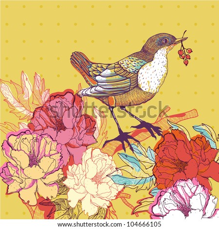 vector illustration of a bird and blooming roses - stock vector