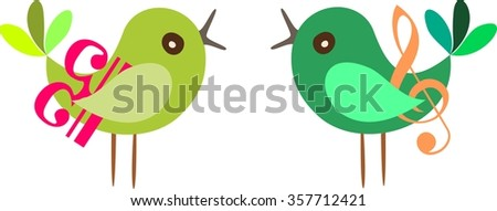Vector illustration of a bird couple with treble clef and bass clef.  - stock vector