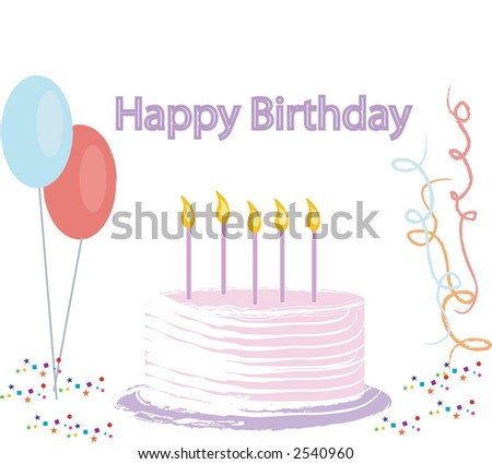 Vector illustration of a Birthday cake, banner, balloons, confetti, and streamers. - stock vector