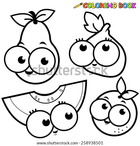 Vector Illustration Of A Black And White Outline Image Fruit Cartoons Pear Fig